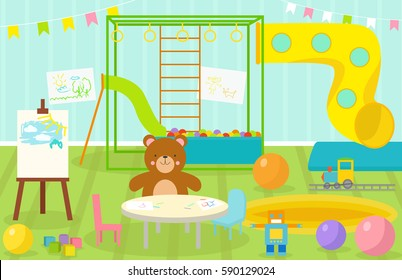 Kids playroom with light furniture decor playground and toys on the floor carpet decorating flat style cartoon comfortable interior vector illustration.