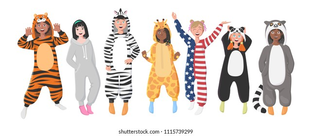 Kids' Plush One-Piece Pajamas. Hooded Onesie Zebra, Tiger, Panda, American Flag, Giraffe, Koala. Onesies for Children. Boys and Girls in Pajamas, Nightwear, Loungewear.