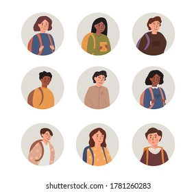 Kids portraits set. School boys and girls with backpack, mix race multiethnic faces and shoulders avatars. Flat style vector icons set. Light grey round shaped children userpics illustration.