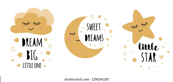 Kids posters set Cute childish typography print cloud moon star nursery apparel baby shower invitation Text dream Big Black gold colors Vector Illustration Postcard baby room wall art Kids room decor.