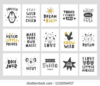 Kids posters set. Scandinavian style childish typography print with hand drawn letters for nursery, apparel, wall art,  postcard, baby shower invitation. Black and white. Vector Illustration