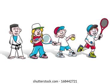 kids practice sports, paddle, tennis, squash,