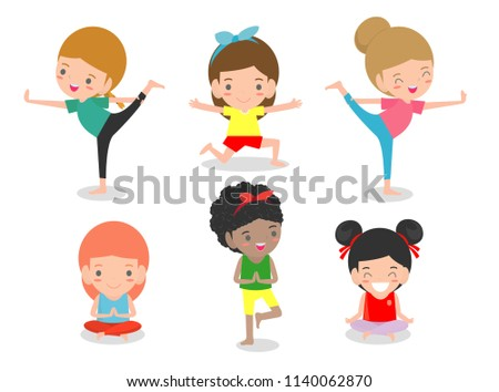 7a4cf13e359751 kids Practicing Yoga, happy cartoon children Practicing Yoga, Child doing  yoga exercises. Healthy