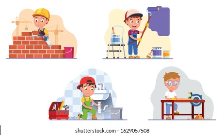Kids professional workers. Builder brickwork, wall painter, plumber fixing sink drain pipes, carpenter do woodwork using table saw. Children craftsman work set. Flat vector character illustration