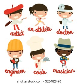 kids professions vector set. artist, athlete, doctor, engineer, cook, musician.