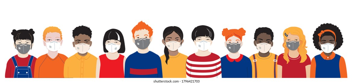 Kids with protection mask flat vector illustrations set. Multicultural international diverse group of children wearing medical face masks to prevent disease, flu, air pollution, contaminated air.