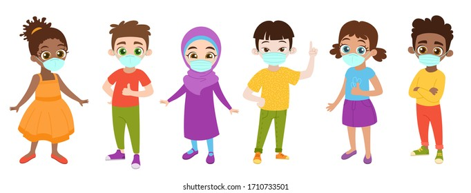 Kids with protection medical face mask to protect and prevent virus, disease, flu, air pollution, contamination, corona. Boy and girl wear mask against smog. Vector illustration.
