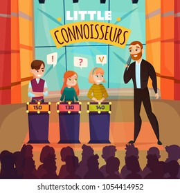 Kids quiz TV show with little connoiseurs symbols flat vector illustration