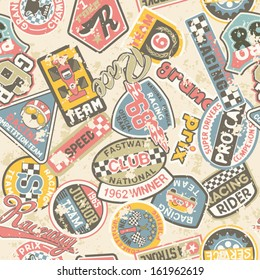 Kids racing badges patchwork - Seamless vector pattern in custom colors, grunge effect in separate layers.