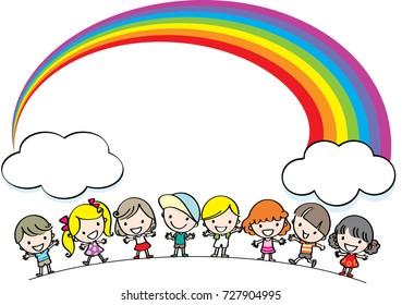kids with rainbow background