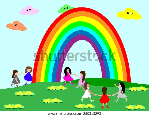Kids and rainbow.Cute kids holding hands under the rainbow
