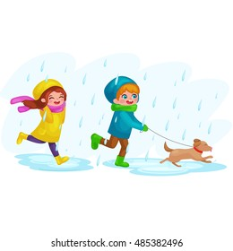 Boy Play To Rain Stock Illustrations Images Vectors