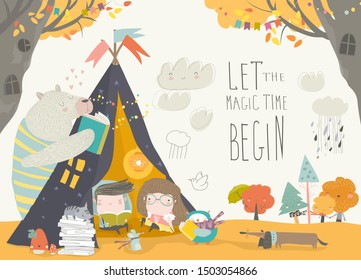 Kids reading book with animals in a teepee tent