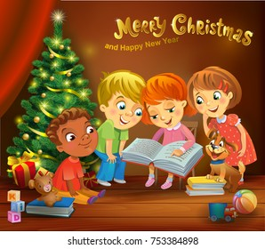 Kids reading the book beside a Christmas tree, a vector illustration in traditional style