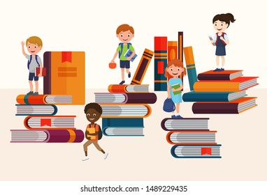 Kids reading books and enjoying literature vector illustration. Cartoon boys and girls loving to read, sitting and laying surrounded with piles of books. Children book readers.