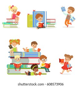 Kids Reading Books And Enjoying Literature Set Of Cute Boys And Girls Loving To Read Sitting And Laying Surrounded With Piles Of Books.