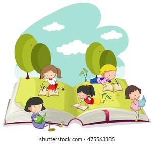 Kids reading books in the park illustration