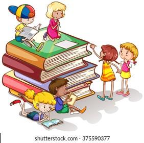 Kids reading books together illustration