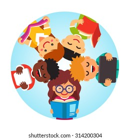 Kids reading laying on the back in circle head to head. Education together concept. Flat style vector cartoon illustration isolated on white background.