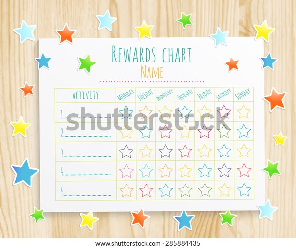 kids rewards chart with confetti stars on wooden background. Vector EPS10