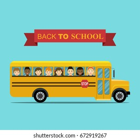 Kids ride to school.  School  bus with Smiling Faces in Windows. Vector flat illustration
