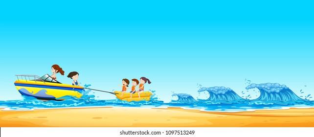 Kids  Riding Banana Boat in Ocean illustration