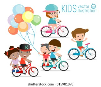 Kids riding bikes,  Child riding bike, kids on bicycle vector on white background,Illustration of a group of kids biking on a white background.