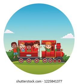 kids riding on train