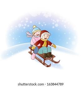 Kids riding a sleigh