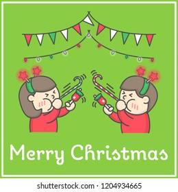Kids ringing bells and blowing festive whistle ribbon party for Merry Christmas Celebration flat cartoon design for book decoration and design elements. Vector illustration.