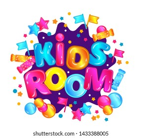 Kids room - child play zone sign with colorful confetti and fun lettering, game room banner and children entertainment park ad isolated on white background - vector illustration
