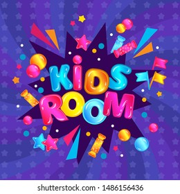 Kids room - fun child play zone poster with confetti boom explosion and colorful lettering. Children game area square banner ad with candy, stars, bubbles on purple background - vector illustration