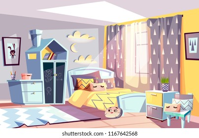 Kids room modern interior vector illustration of bedroom furniture in Scandinavian style. Cartoon cozy bed with blanket or toys on carpet and drawer with slat or chalkboard in Scandic design