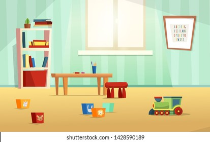 Kids room modern vector  illustration with furniture, sunlight from window and toys. Nursery for kids, little children.  Flat style design. Preschool.