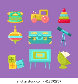 Kids Room Objects Collection Of Flat Isolated Minimalistic Vector Icons In Childish Style On Violet Background
