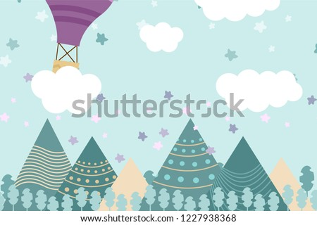 Kids Room Wallpaper With Graphic Illustration Winter Forest, Mountain, And  Air Balloon. Can