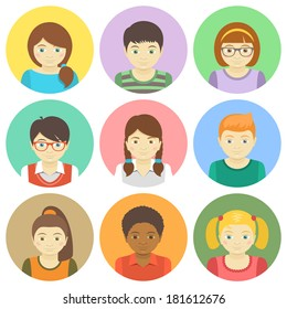 Kids round flat vector avatars. Different boys and girls faces in colorful circles. Children characters profile pictures. Different hairstyles and clothes cartoon design. Portrait infographic elements