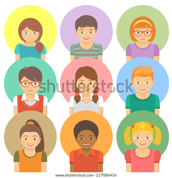Kids Round Flat Vector Avatars Different Stock Vektorgrafik