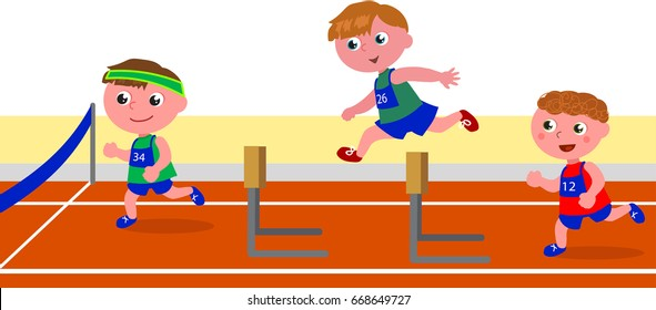 Kids running obstacle course racing vector illustration