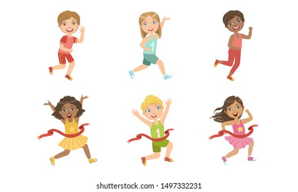 Kids Running Set, Adorable Boys and Girls Doing Sport, Taking Part at Running Competition, Marathon Vector Illustration