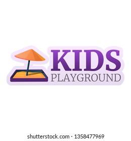 Kids sandbox umbrella logo. Cartoon of kids sandbox umbrella vector logo for web design isolated on white background