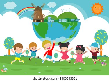 Kids for Saving Earth, save the world, save planet, ecology concept, cute kid cartoon character isolated on white background vector illustration