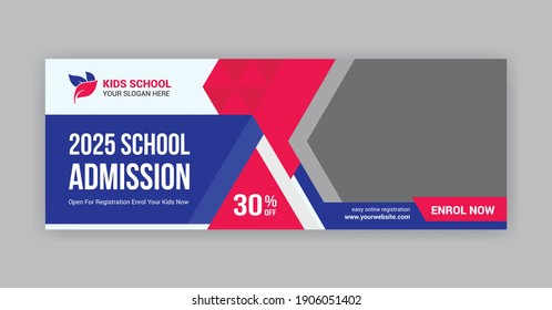 Kids school admission social media cover photo timeline design for your school advertisement. Red and blue school admission social media cover photo.