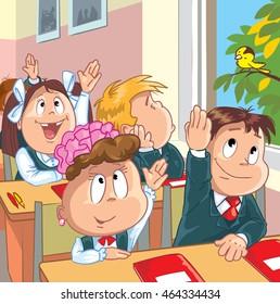 Kids in the school. Cartoon vector illustration