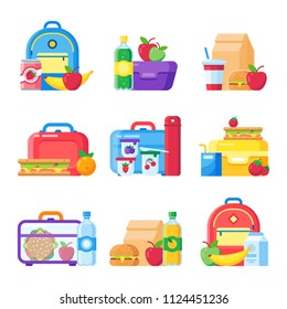 Kids school lunch box. Schoolkid meal bag for dinner. Red apple, milk child hamburger fresh snack dinners meal in children food boxes and plastic sandwich bag flat icon colorful vector isolated set