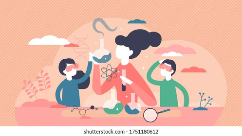 Kids science vector illustration. Experiment laboratory flat tiny persons concept. Children and teacher research process with chemistry flasks and cognitive curiosity. Abstract scientific school class