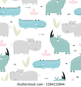 Kids seamless pattern with African animals. Cute fashion print. Vector hand drawn illustration.