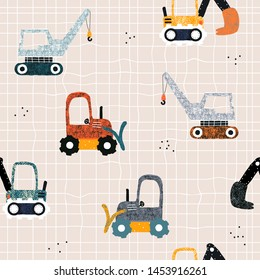 Kids seamless pattern with building equipment. Funny creative print for textile. Vector hand drawn illustration.