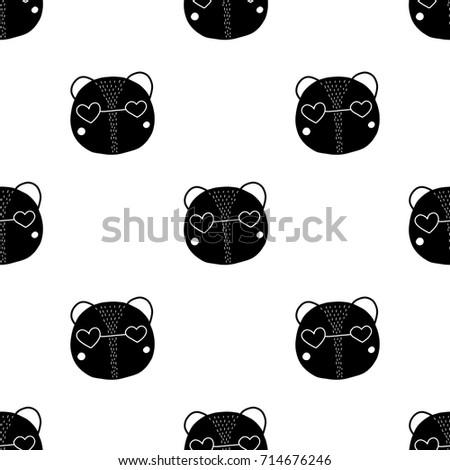 Kids Seamless Pattern Character Bear Print Stock Vector Royalty