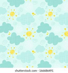 Kids seamless pattern clouds and sun